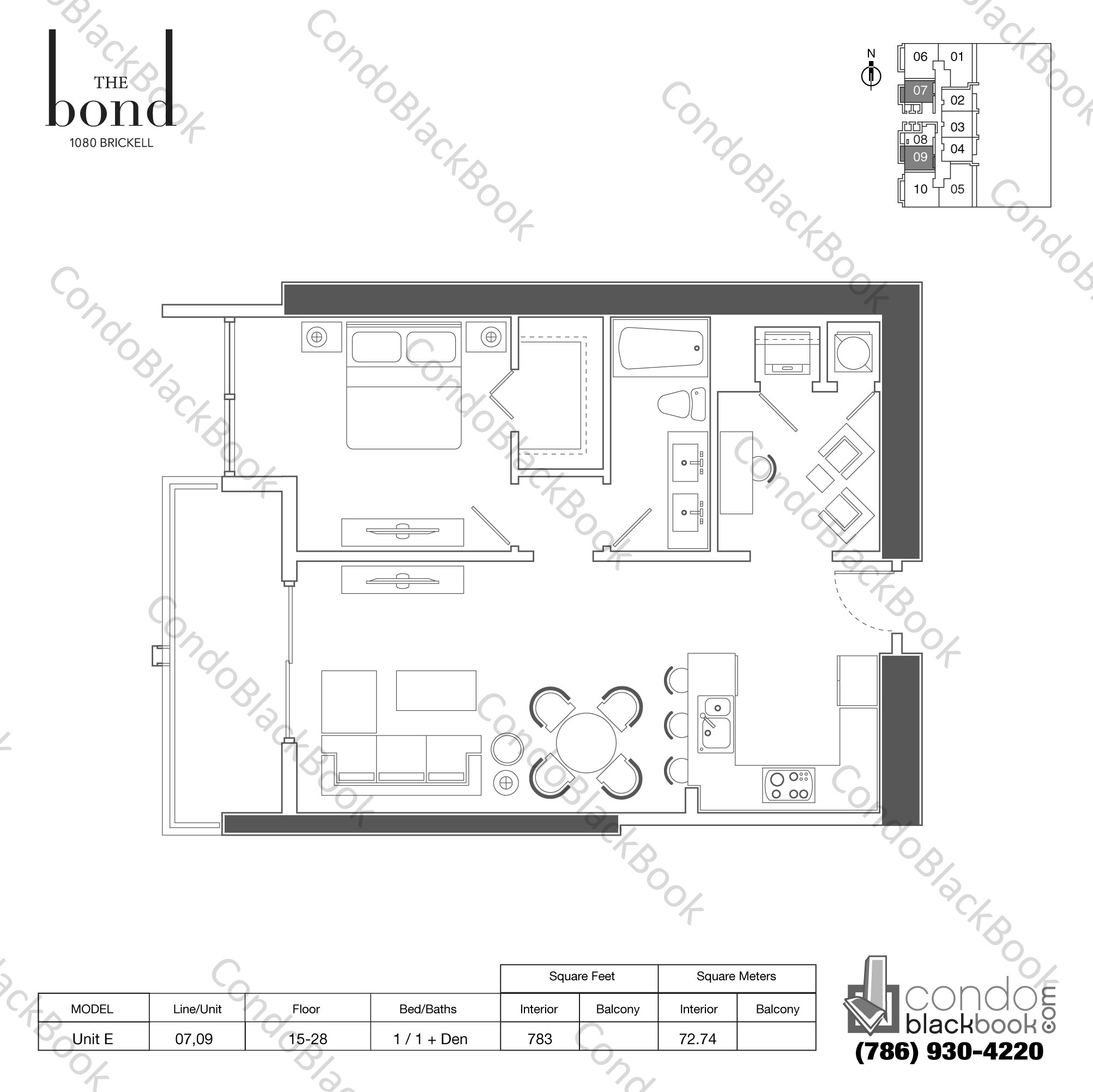 Floor plan for The Bond Brickell Miami, model UNIT E, line -, 1+Den/1 bedrooms, 783 sq ft
