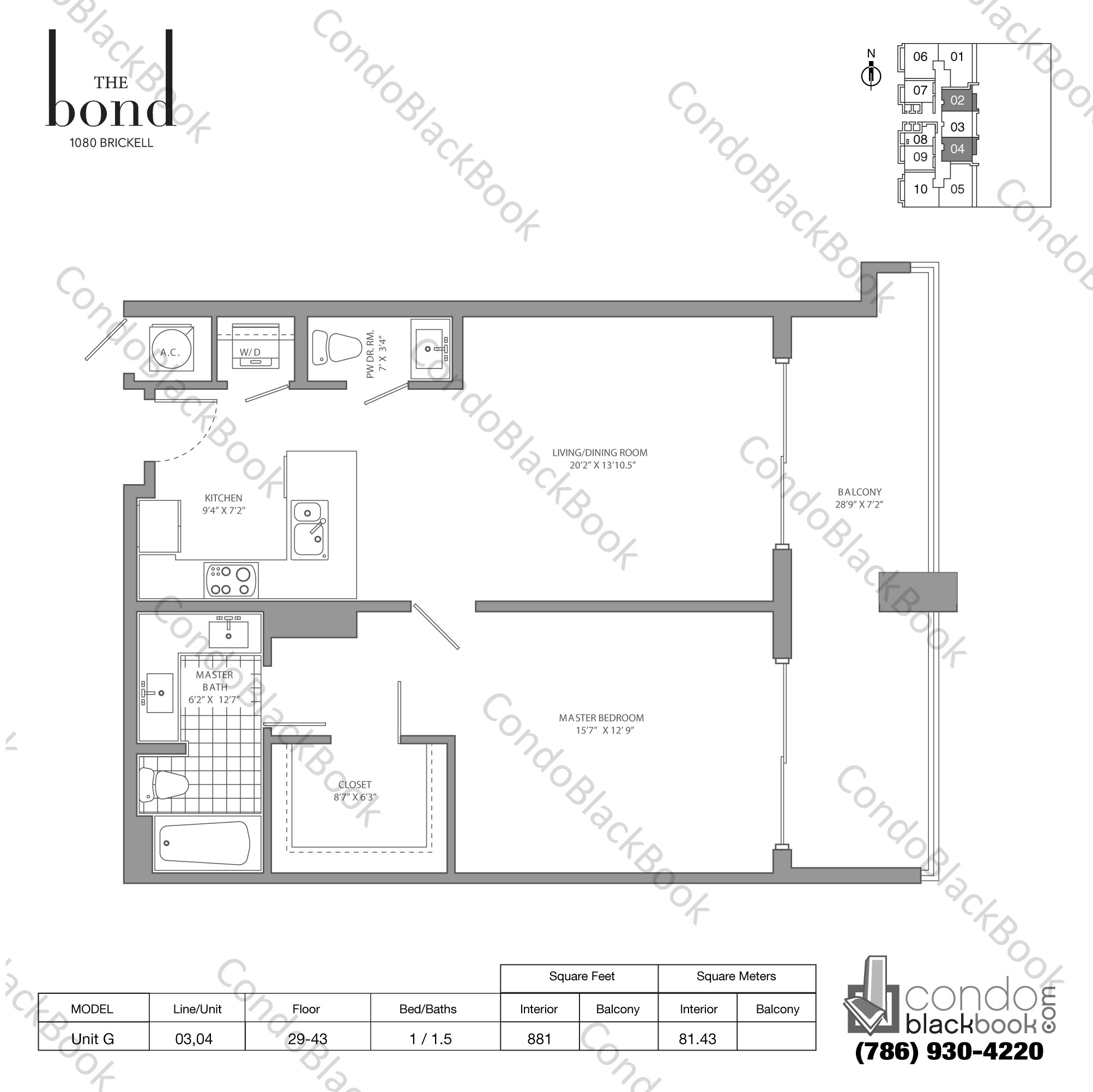 Floor plan for The Bond Brickell Miami, model UNIT G, line -, 1/1,5 bedrooms, 881 sq ft