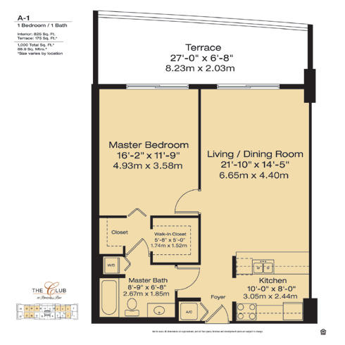 Floor plan for The Club at Brickell Brickell Miami, model A1, line Floors 14-41 Lines 03,04,06,08,18,19,20,21,22, 1/1 bedrooms, 825 sq ft