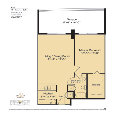Floor plan for The Club at Brickell Brickell Miami, model A2, line Floors 14-41Lines 12,14, 1/1 bedrooms, 818 sq ft