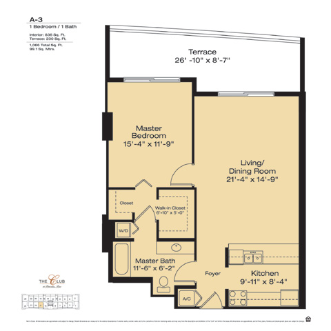 Floor plan for The Club at Brickell Brickell Miami, model A3, line Floors 14-41 Line 17, 1/1 bedrooms, 836 sq ft