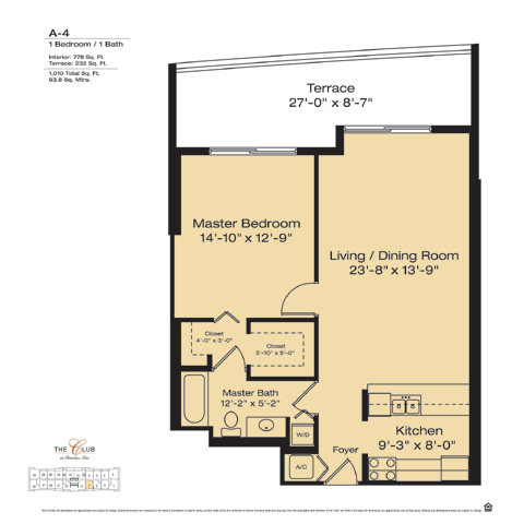 Floor plan for The Club at Brickell Brickell Miami, model A4, line Floors 14-41 Line 07, 1/1 bedrooms, 778 sq ft