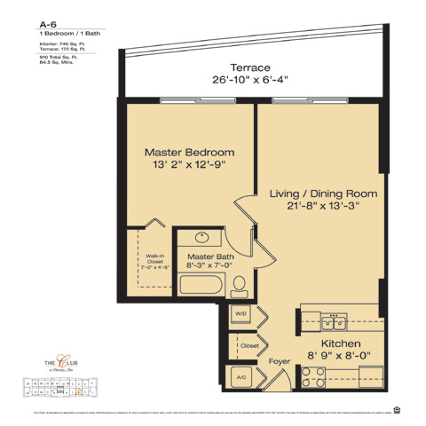 Floor plan for The Club at Brickell Brickell Miami, model A6, line Floors 14-41 Line 05, 1/1 bedrooms, 910 sq ft