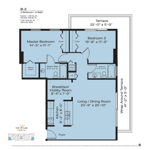 Floor plan for The Club at Brickell Brickell Miami, model B2, line Floors 14-41 Lines 01,23, 2/2 bedrooms, 1105 sq ft