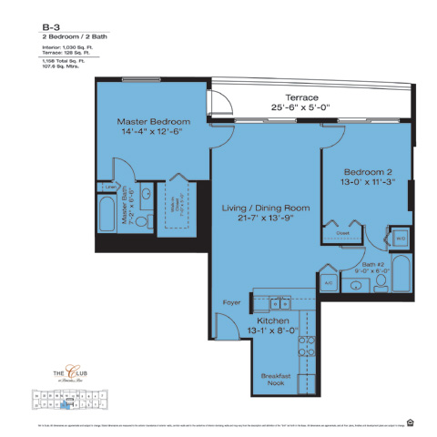 Floor plan for The Club at Brickell Brickell Miami, model B3, line Floors 14-41 Lines  09,13, 2/2 bedrooms, 1030 sq ft