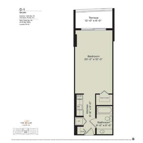 Floor plan for The Club at Brickell Brickell Miami, model C1, line Floors 14-41 Lines 10,11, 0/1 bedrooms, 1183 sq ft