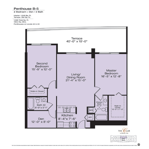 Floor plan for The Club at Brickell Brickell Miami, model PHB5, line Floors 42-43 Lines 12,14, 2/2 +Den bedrooms, 425 sq ft