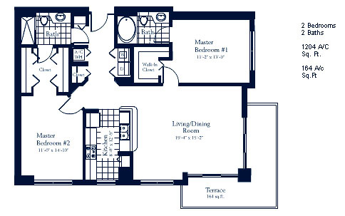Floor plan for The Mark Brickell Miami, model A, line Lines 01,10,11, 2/2 bedrooms, 1204 sq ft