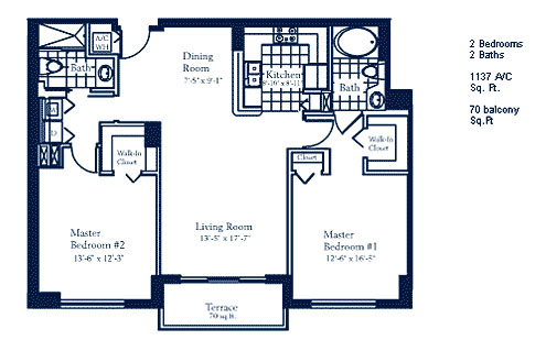 Floor plan for The Mark Brickell Miami, model B, line Lines 03,08,09, 2/2 bedrooms, 1137 sq ft