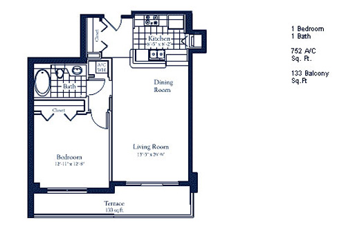 Floor plan for The Mark Brickell Miami, model C, line Lines 06,07, 1/1 bedrooms, 752 sq ft