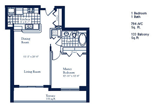 Floor plan for The Mark Brickell Miami, model C1, line Line 05, 1/1 bedrooms, 764 sq ft