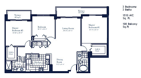 Floor plan for The Mark Brickell Miami, model E, line Line 04, 3/3 bedrooms, 1510 sq ft