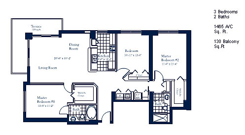 Floor plan for The Mark Brickell Miami, model F, line Line 02, 3/2 bedrooms, 1465 sq ft