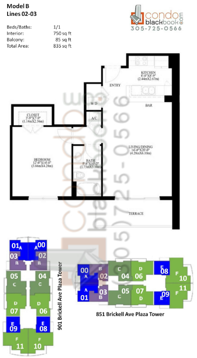 Floor plan for The Plaza Brickell Miami, model B, line 02,03, 1/1 bedrooms, 750 sq ft