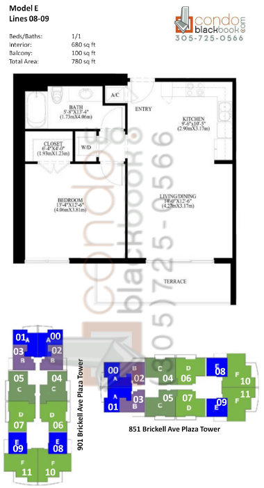 Floor plan for The Plaza Brickell Miami, model E, line 08,09, 1/1 bedrooms, 680 sq ft