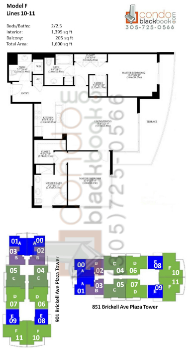 Floor plan for The Plaza Brickell Miami, model F, line 10,11, 2/2.5 bedrooms, 1,395 sq ft
