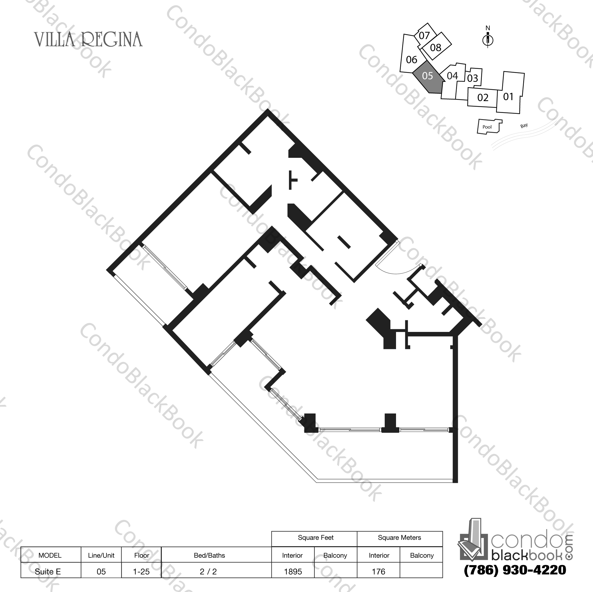 Floor plan for Villa Regina Condo Brickell Miami, model Suite E, line 05, 2 / 2 bedrooms, 1895 sq ft