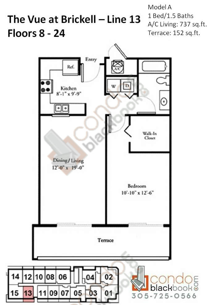 Floor plan for Vue Brickell Miami, model A, line 13, 1/1.5 bedrooms, 737 sq ft