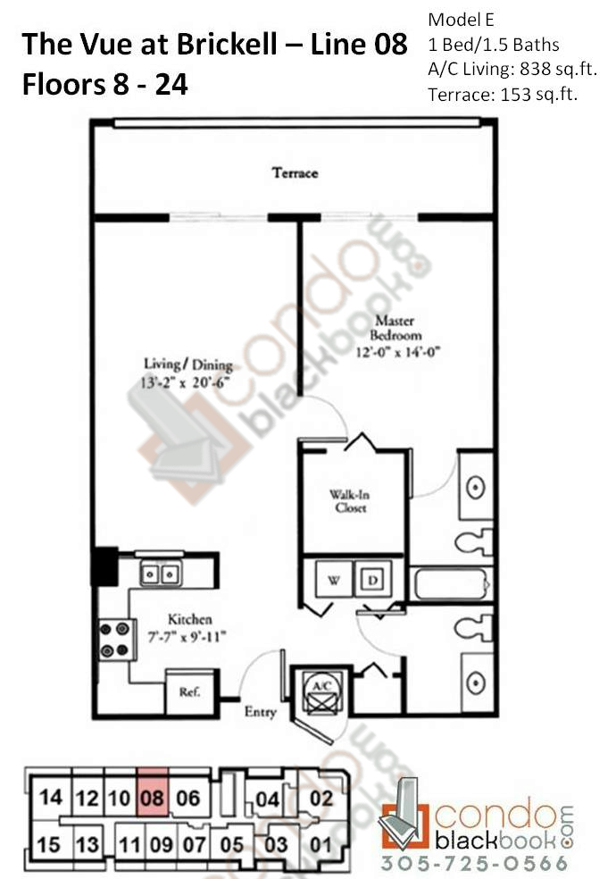 Floor plan for Vue Brickell Miami, model E, line 08, 1/1.5 bedrooms, 838 sq ft