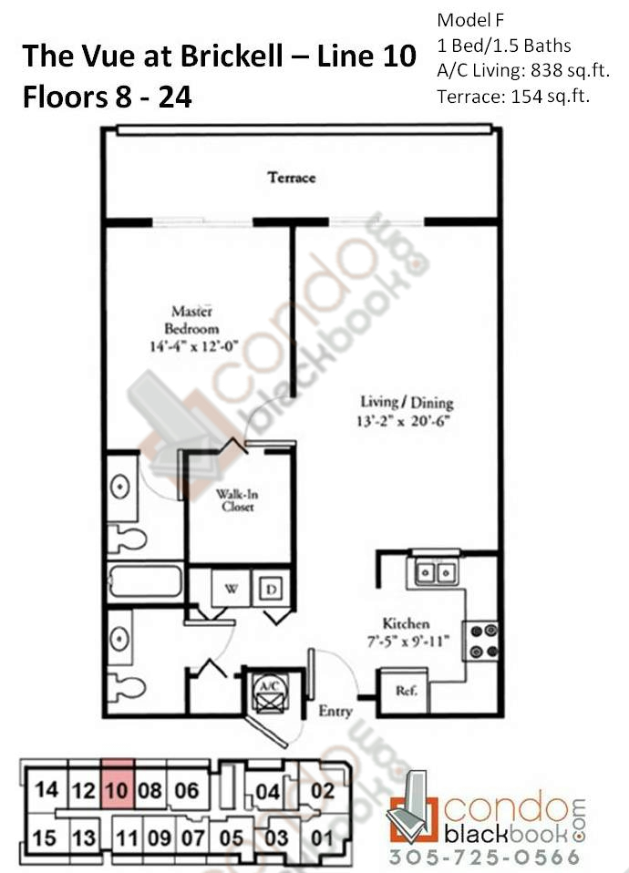 Floor plan for Vue Brickell Miami, model F, line 10, 1/1.5 bedrooms, 838 sq ft