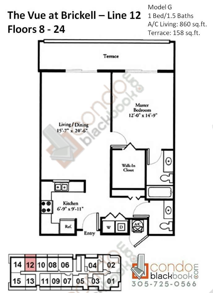 Floor plan for Vue Brickell Miami, model G, line 12, 1/1.5 bedrooms, 860 sq ft