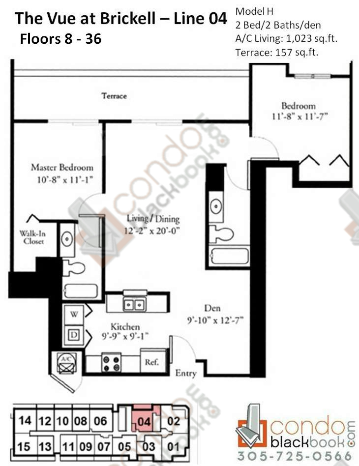 Floor plan for Vue Brickell Miami, model H, line 04, 2/2 +Den bedrooms, 1023 sq ft