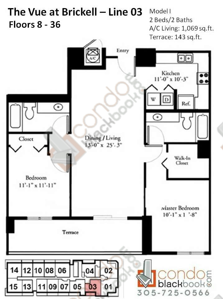 Floor plan for Vue Brickell Miami, model I, line 03, 2/2 bedrooms, 1069 sq ft