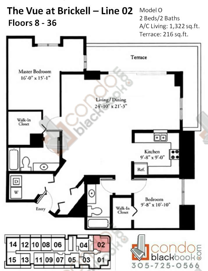 Floor plan for Vue Brickell Miami, model O, line 02, 2/2 bedrooms, 1322 sq ft