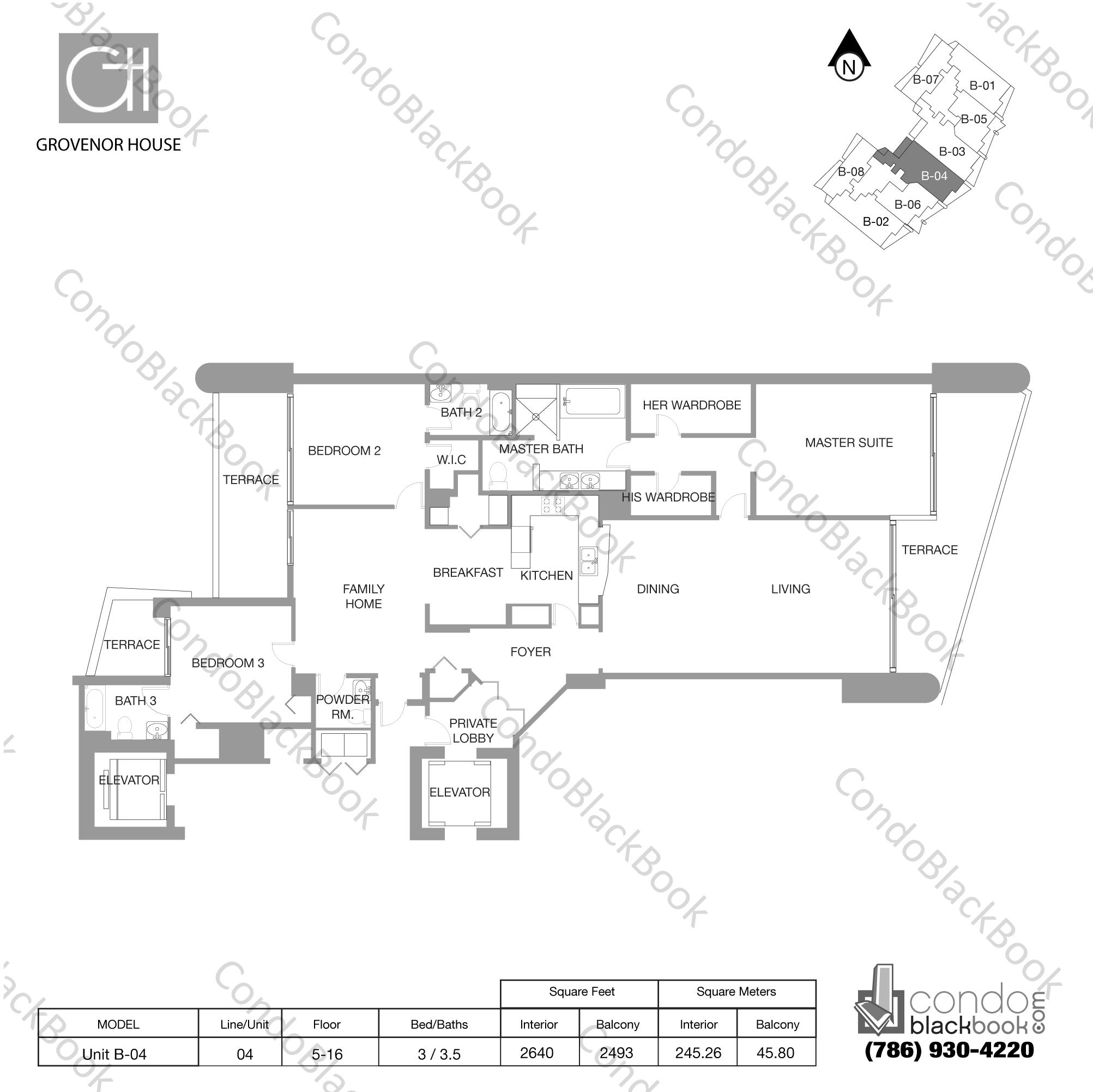 Floor plan for Grovenor House Coconut Grove Miami, model Unit B-04, line 04, 3 / 3.5 bedrooms, 2640 sq ft
