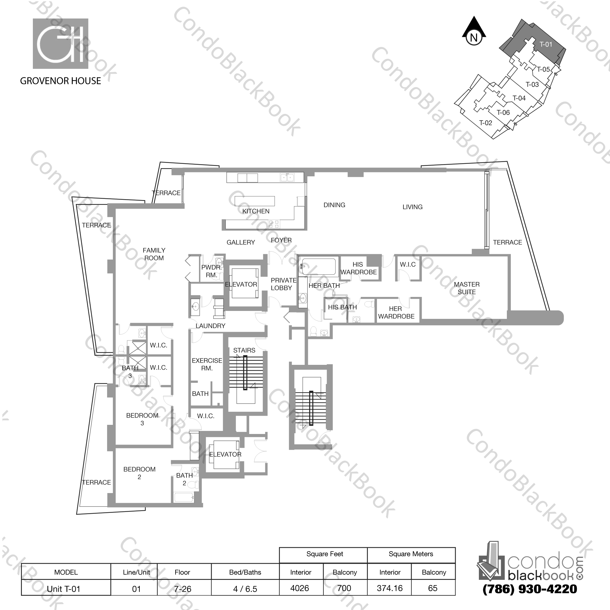 Floor plan for Grovenor House Coconut Grove Miami, model Unit T-01, line 01, 4 / 6.5 bedrooms, 4026 sq ft