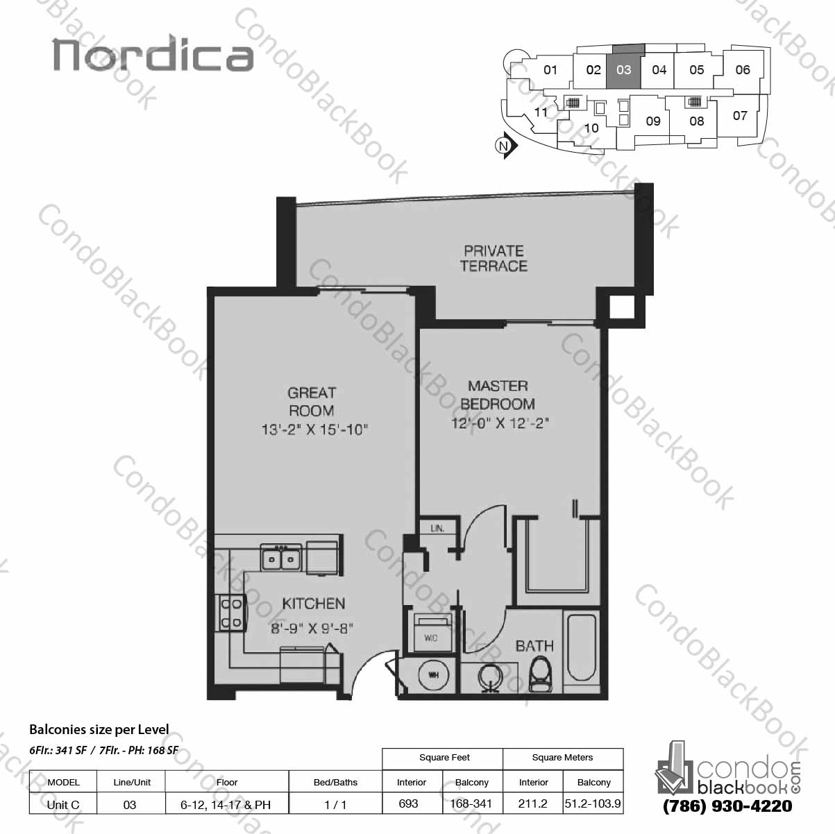 Floor plan for Nordica Coral Way, model Unit C, line 03,  1 / 1 bedrooms, 693 sq ft