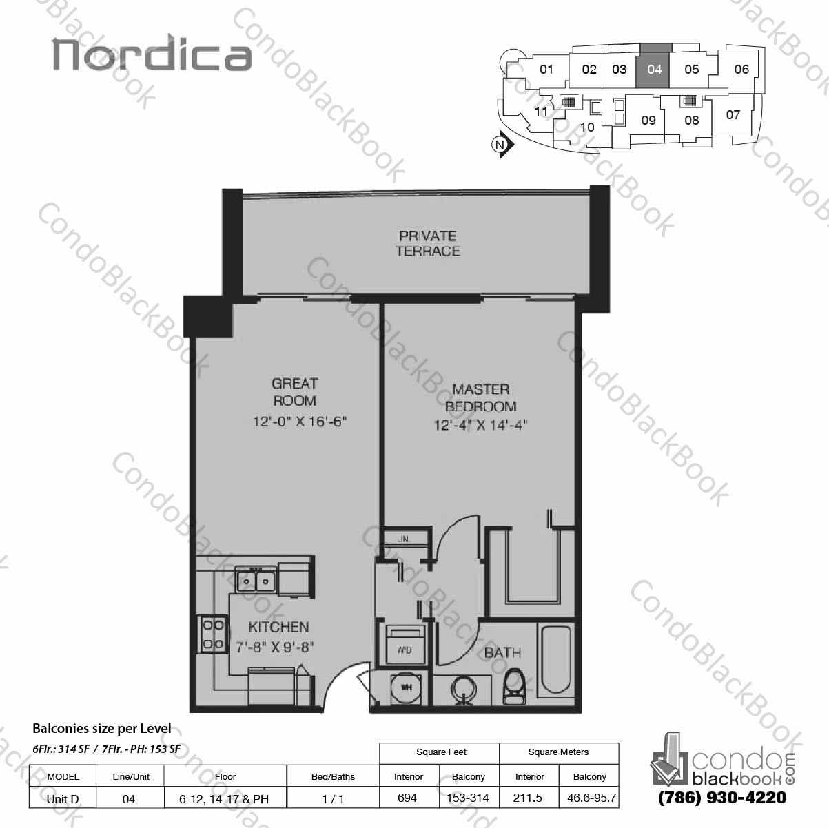 Floor plan for Nordica Coral Way, model Unit D, line 04,  1 / 1 bedrooms, 694 sq ft