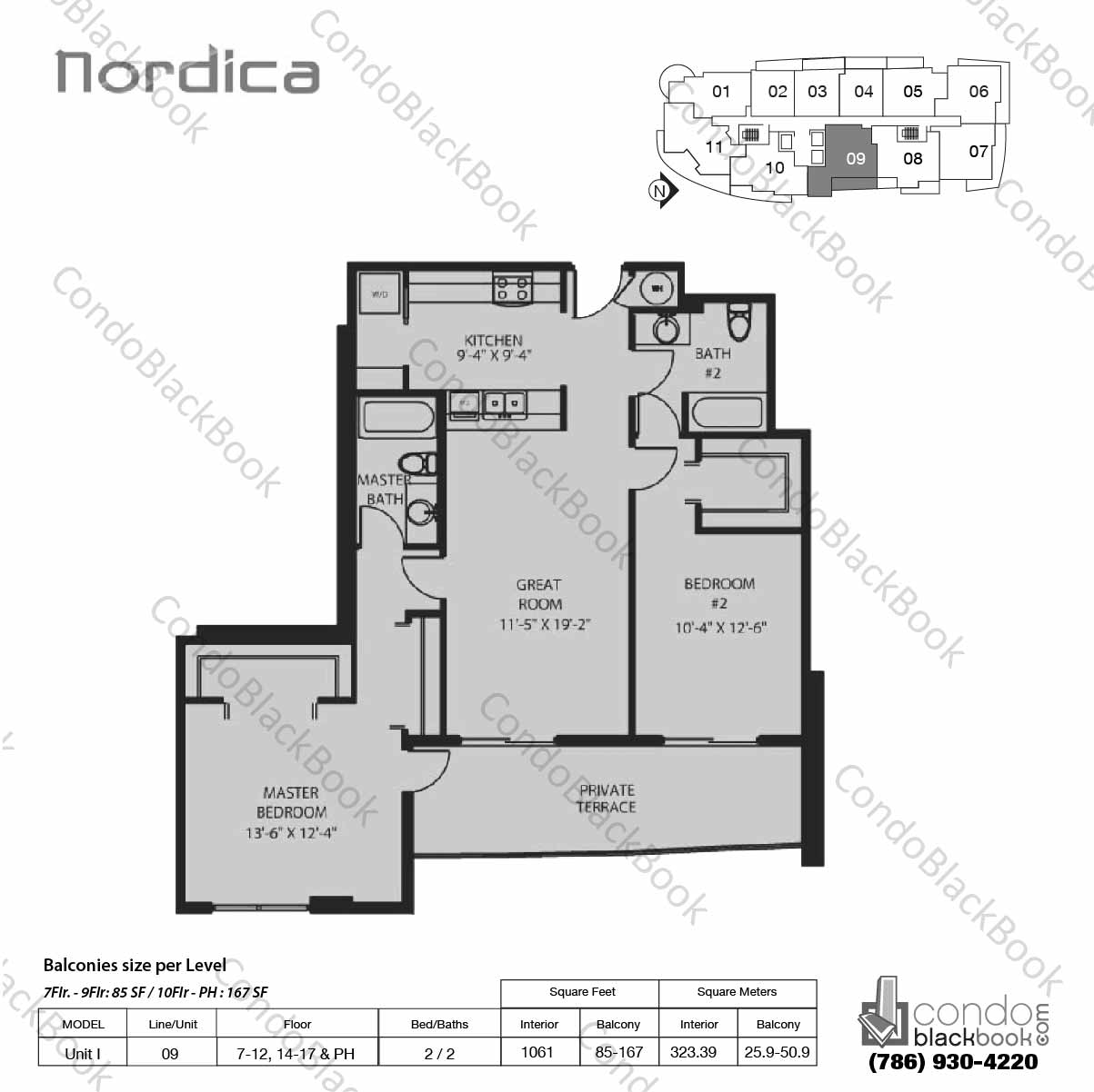 Floor plan for Nordica Coral Way, model Unit I, line 09,  2 / 2 bedrooms, 1061 sq ft