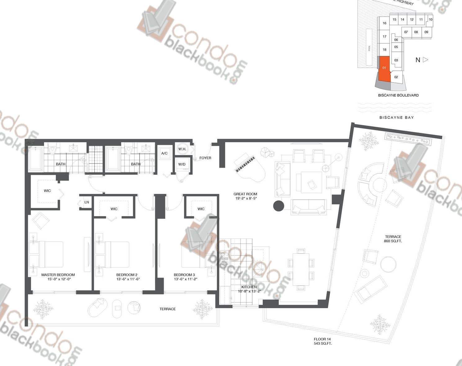 Floor plan for Baltus House Design District / Buena Vista Miami, model Residence 01, line 01, 2/2 bedrooms, 1,160 sq ft