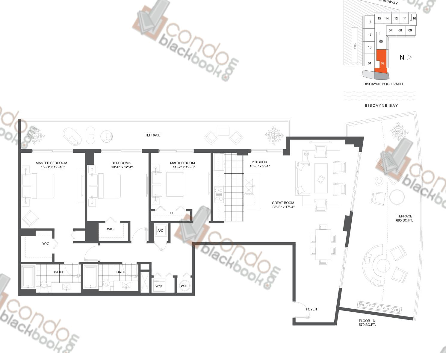 Floor plan for Baltus House Design District / Buena Vista Miami, model Residence 02, line 02, 3/2 bedrooms, 1,782 sq ft