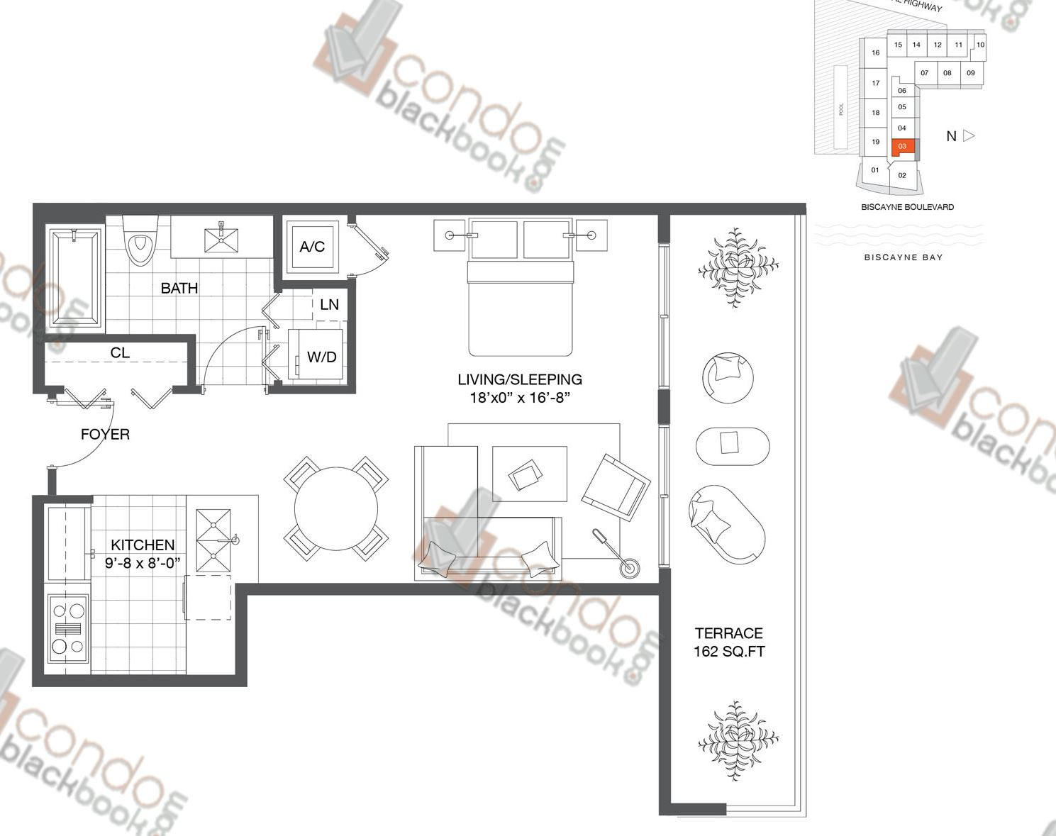 Floor plan for Baltus House Design District / Buena Vista Miami, model Residence 03, line 03, 0/1 bedrooms, 520 sq ft