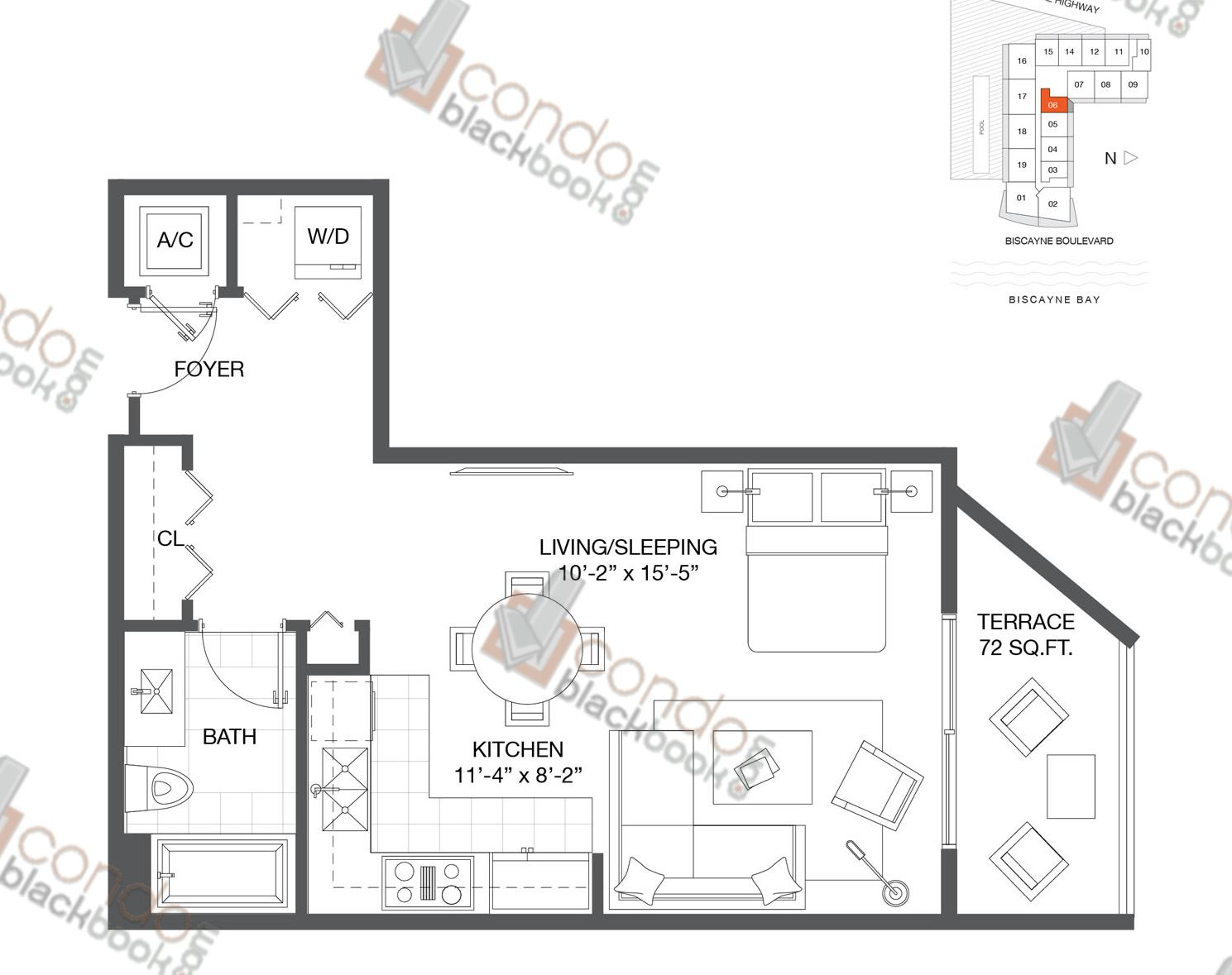 Floor plan for Baltus House Design District / Buena Vista Miami, model Residence 06, line 06, 0/1 bedrooms, 540 sq ft