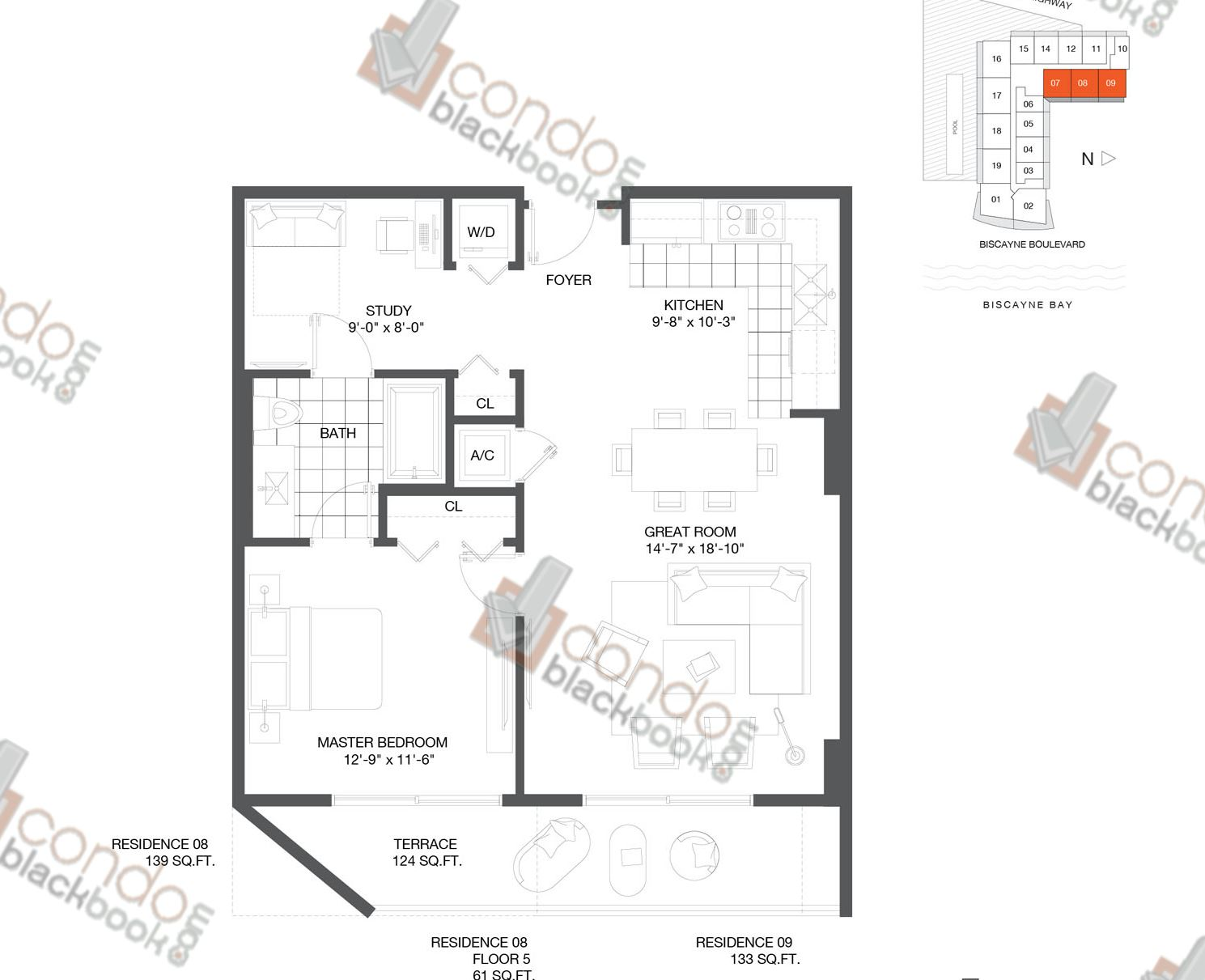 Floor plan for Baltus House Design District / Buena Vista Miami, model Residence 07, 08, 09, line 07, 09, 1/1+DEN bedrooms, 790 sq ft