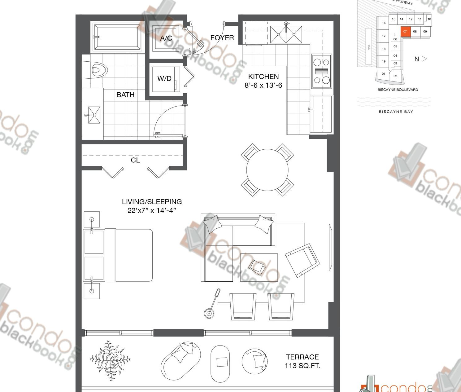 Floor plan for Baltus House Design District / Buena Vista Miami, model Residence 07, line 07, 3/2 bedrooms, 1,520 sq ft