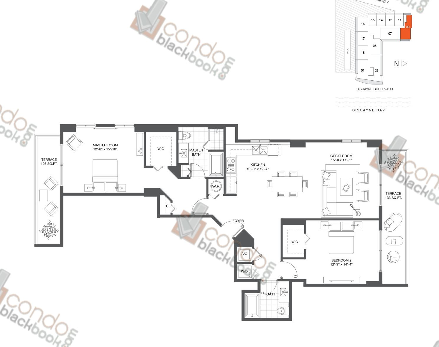 Floor plan for Baltus House Design District / Buena Vista Miami, model Residence 09, line 09, 1/1+DEN bedrooms, 800 sq ft