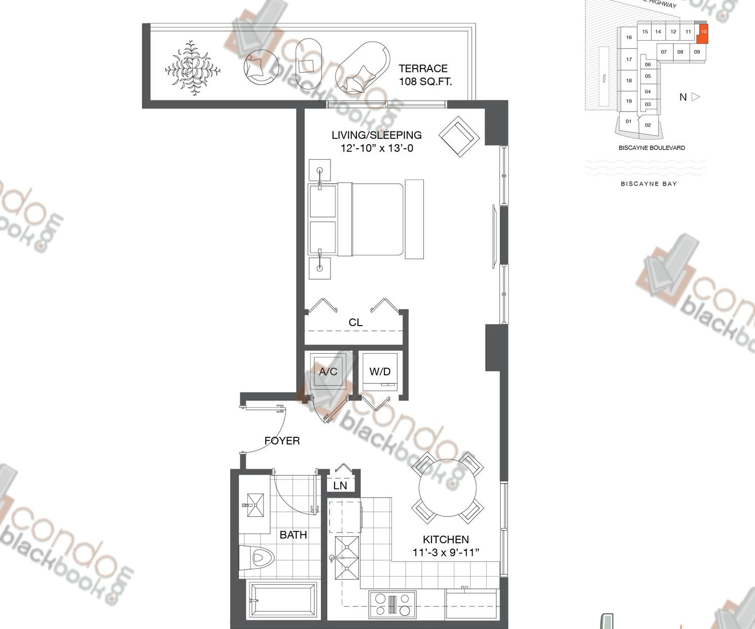 Floor plan for Baltus House Design District / Buena Vista Miami, model Residence 10, line 10, 0/1 bedrooms, 530 sq ft