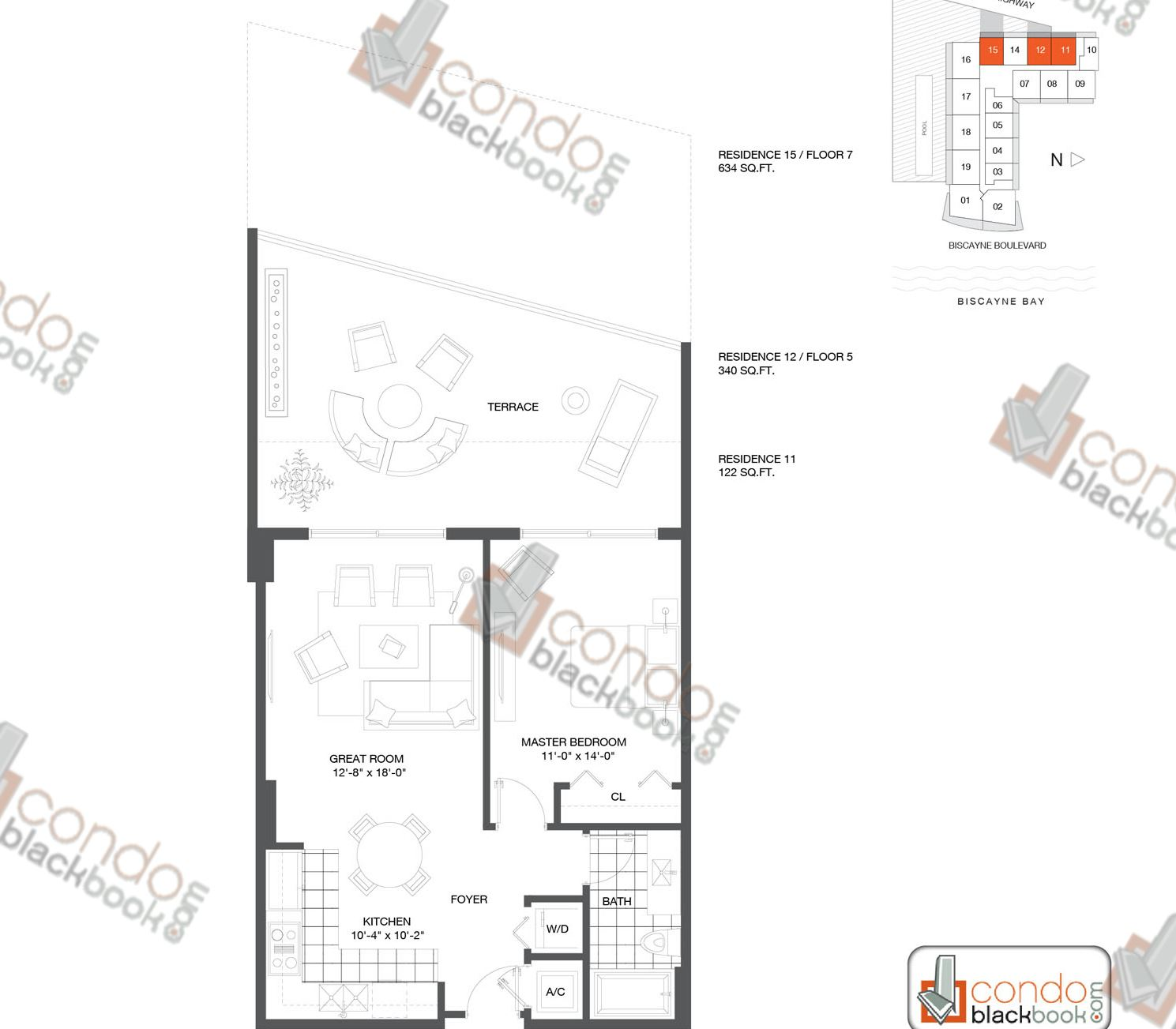 Floor plan for Baltus House Design District / Buena Vista Miami, model Residence 11, 12, 15, line 11, 12, 1/1+DEN bedrooms, 700 sq ft