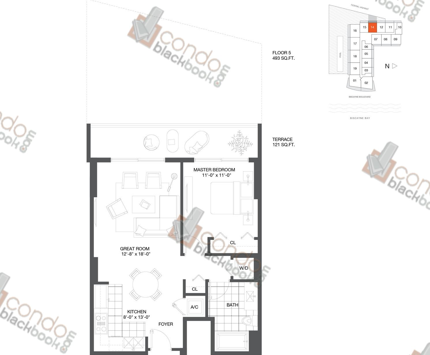 Floor plan for Baltus House Design District / Buena Vista Miami, model Residence 14, line 14, 1/1 bedrooms, 680 sq ft