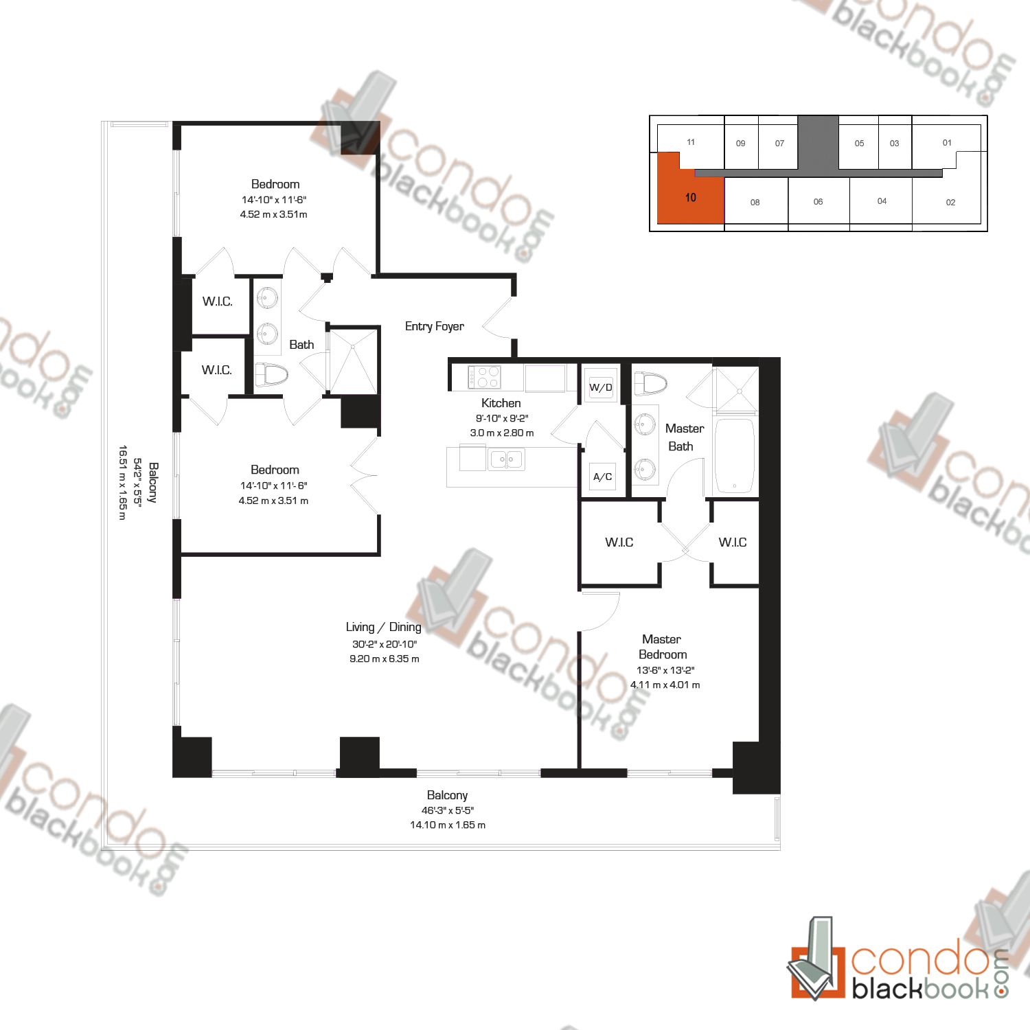 Floor plan for 50 Biscayne Downtown Miami Miami, model AA and O, line 01, 14, 1/2+Den bedrooms, 1,108 sq ft
