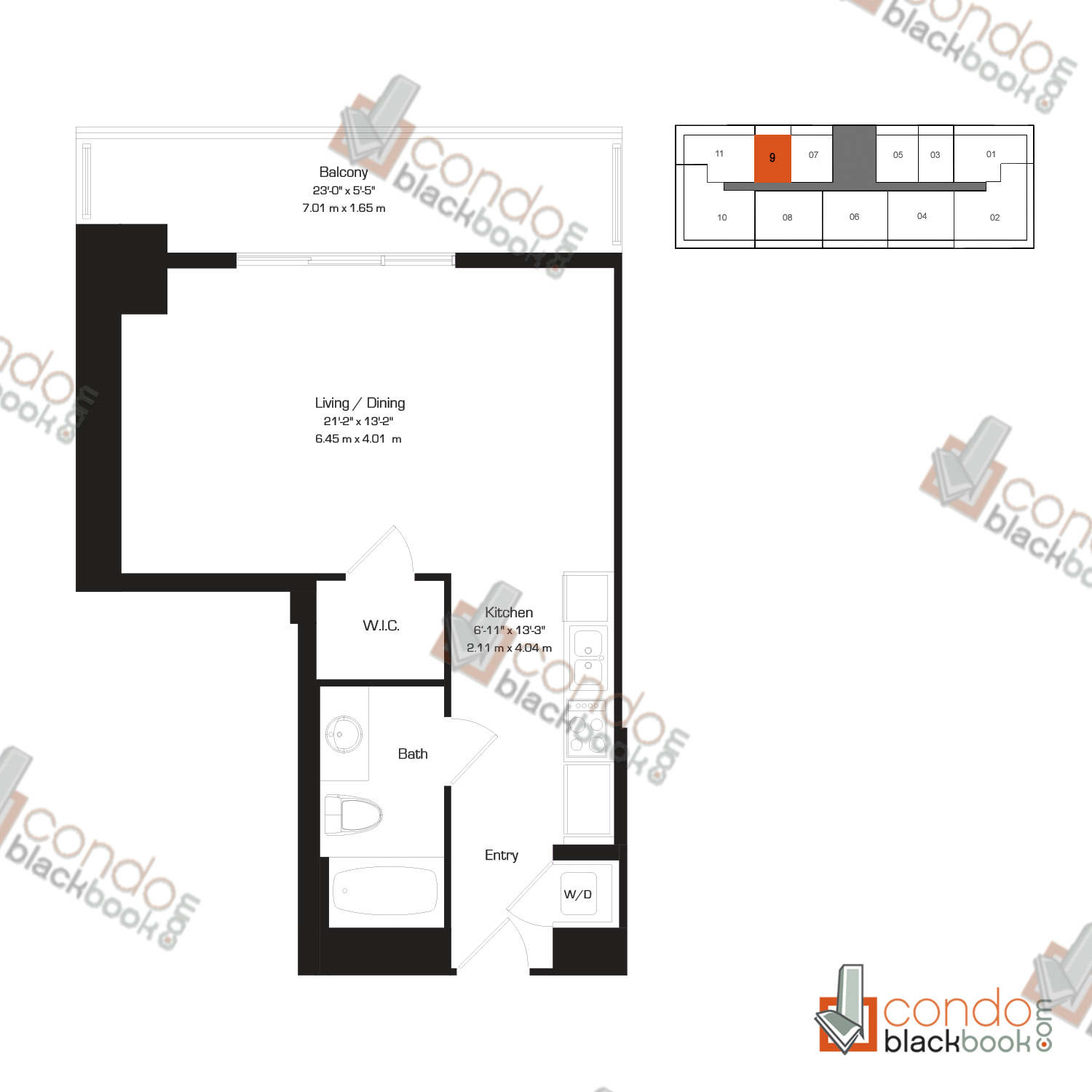 Floor plan for 50 Biscayne Downtown Miami Miami, model C, line 09, 0/1 bedrooms, 567 sq ft