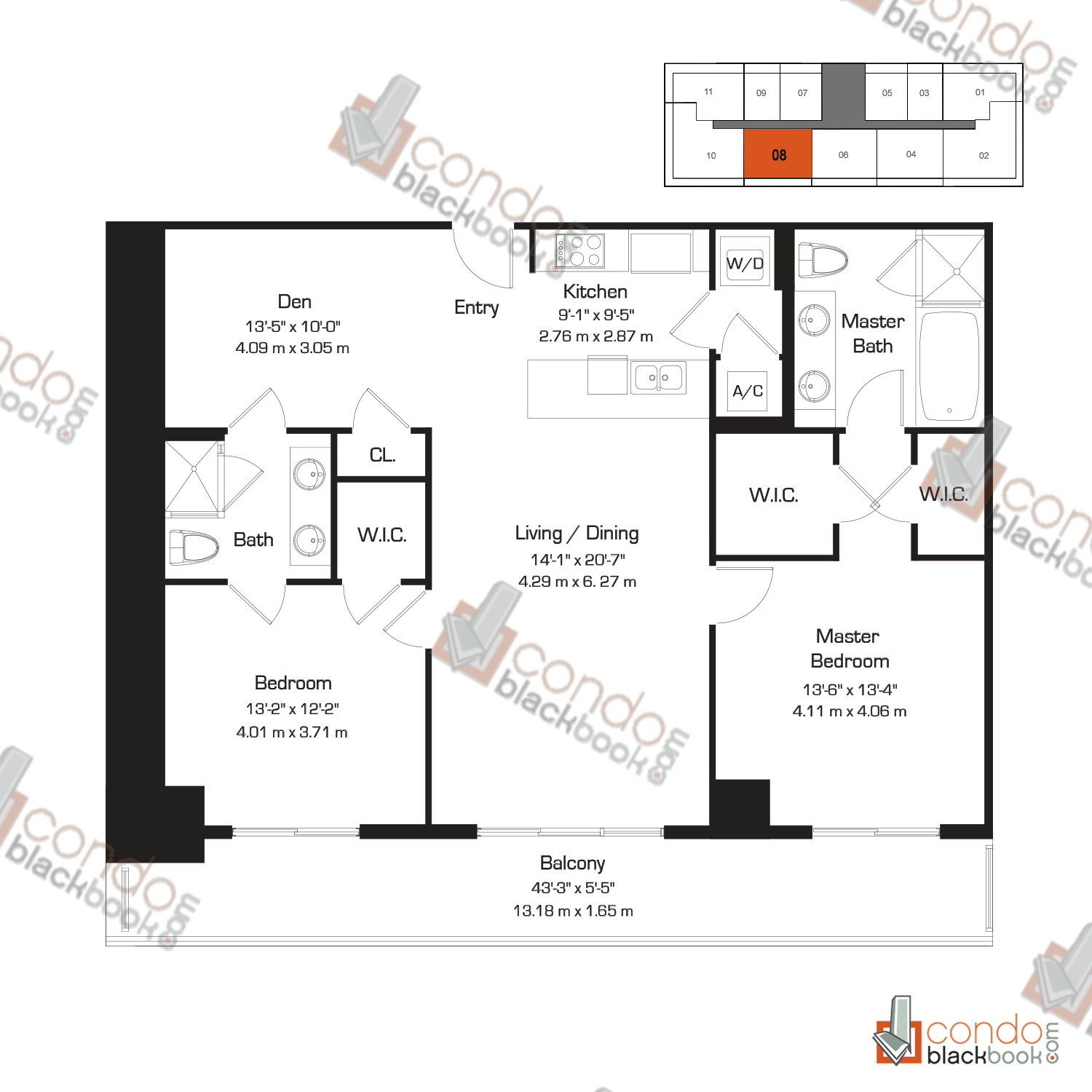 Floor plan for 50 Biscayne Downtown Miami Miami, model E, line 08, 2/2+Den bedrooms, 1,357 sq ft
