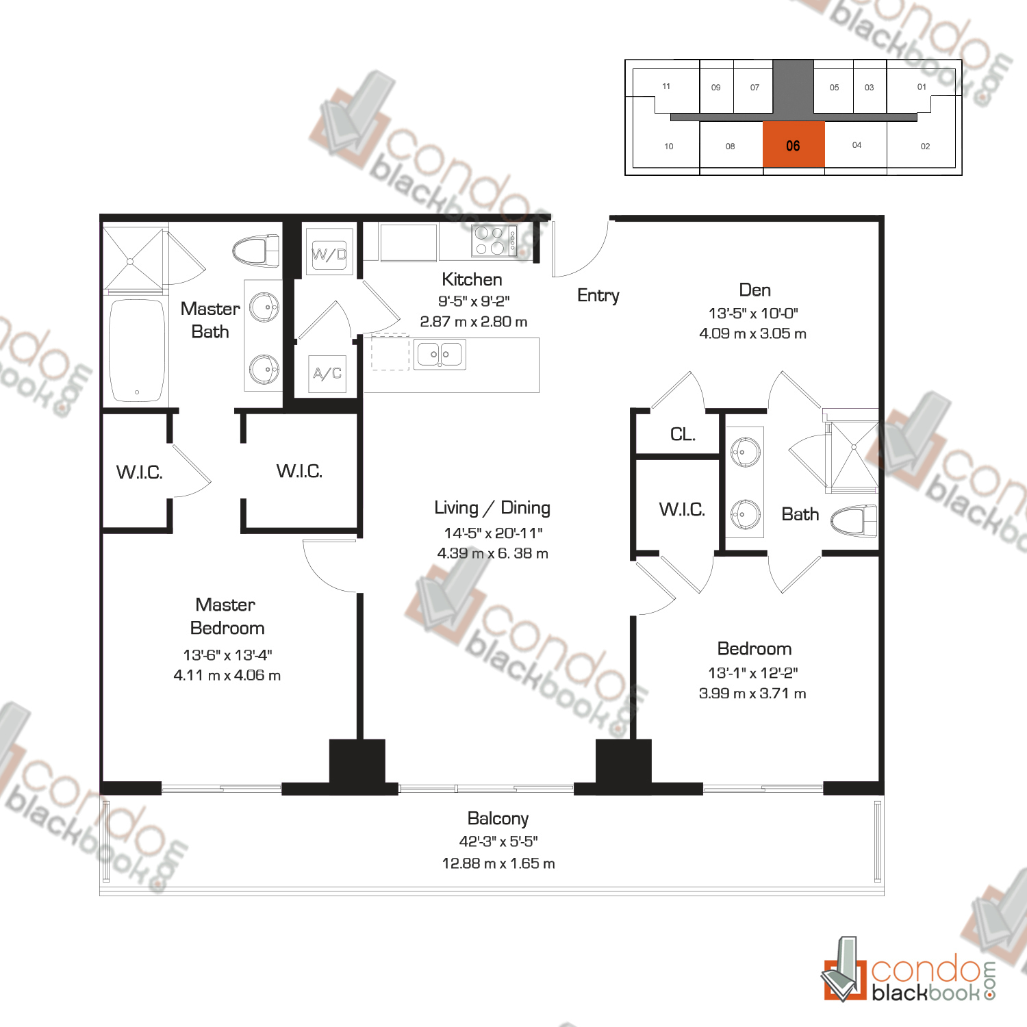 Floor plan for 50 Biscayne Downtown Miami Miami, model F, line 06, 2/2+Den bedrooms, 1,322 sq ft