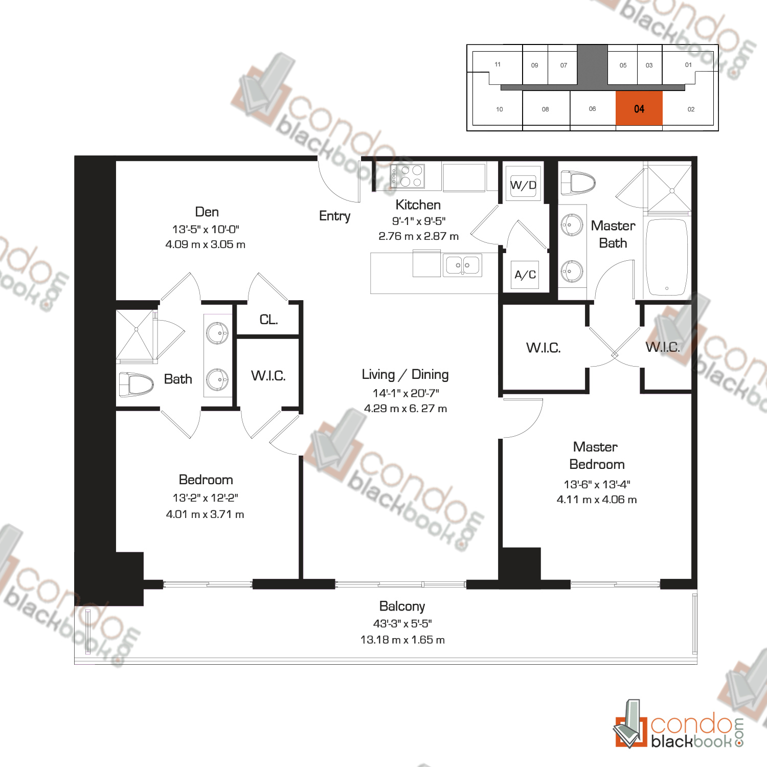 Floor plan for 50 Biscayne Downtown Miami Miami, model G, line 04, 2/2+Den bedrooms, 1,357 sq ft