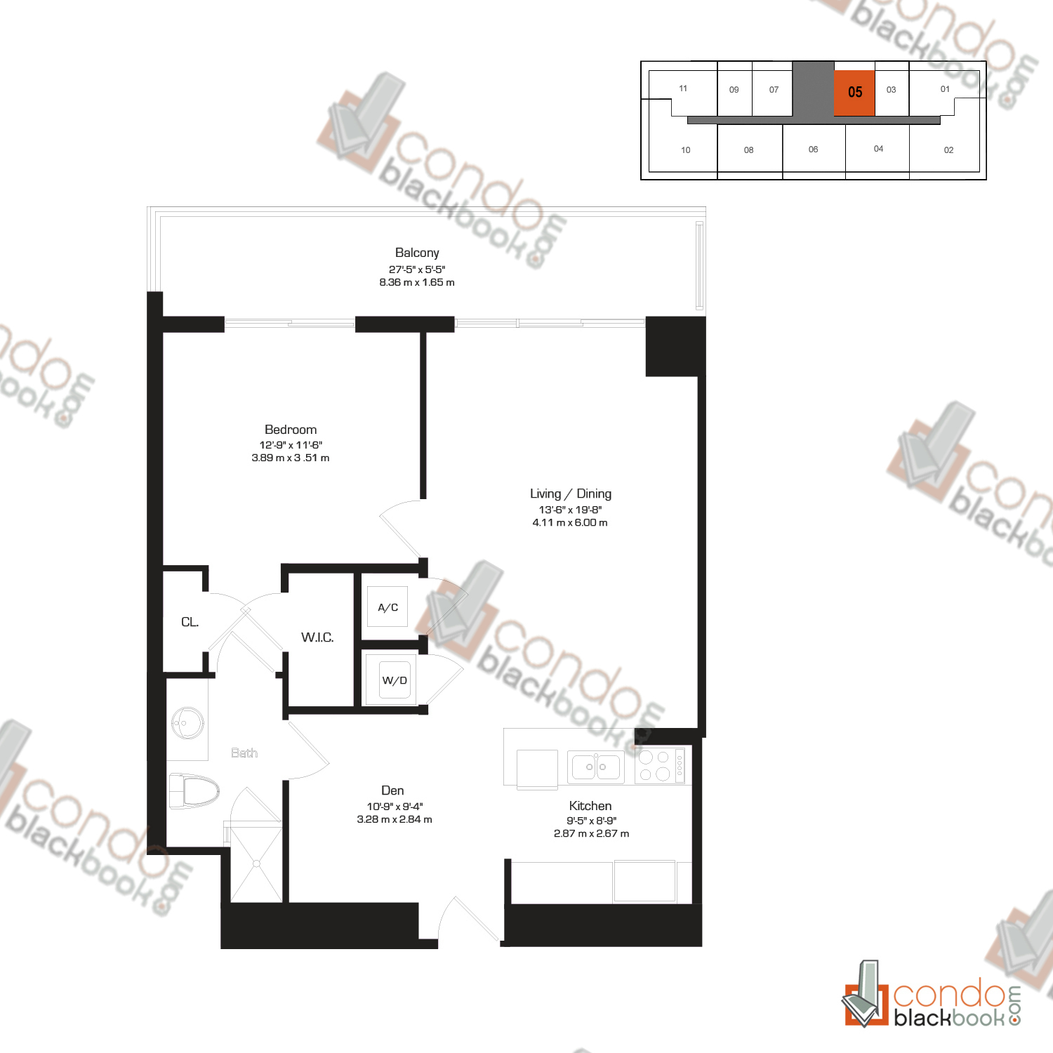 Floor plan for 50 Biscayne Downtown Miami Miami, model H, line 05, 1/1+Den bedrooms, 845 sq ft