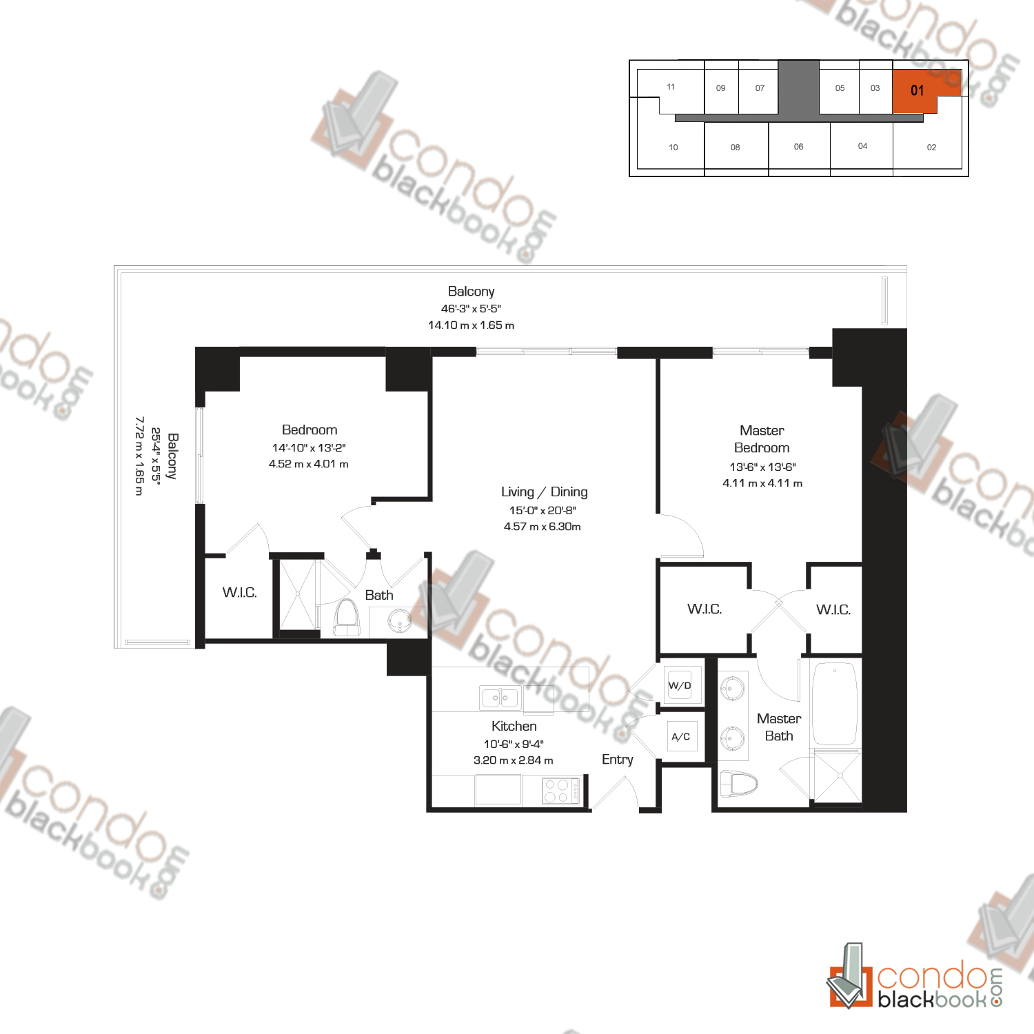 Floor plan for 50 Biscayne Downtown Miami Miami, model J, line 01, 2/2 bedrooms, 1,256 sq ft